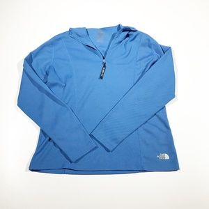 The North Face Blue Tech Hoodie Jacket 1/4 Zip XL